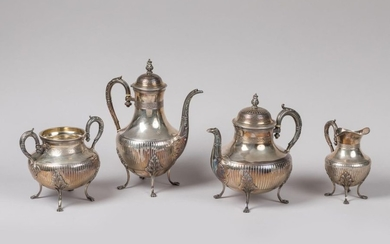 Silver coffee and tea set, decorated with ribs...