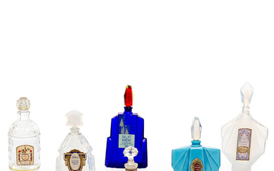 Six French perfume bottles in opalescent, cobalt and colourless glass, circa 1920-1925.