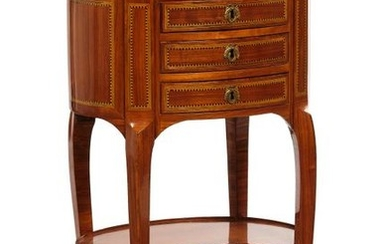 Small oval writing table with three drawers. White...