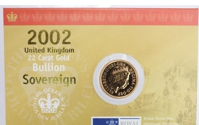 Sovereign 2002 BU in the Royal mint card