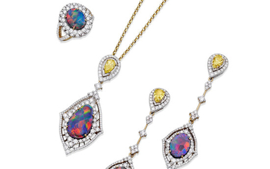Suite of Black Opal, Fancy Colored Diamond and Diamond Convertible Jewelry