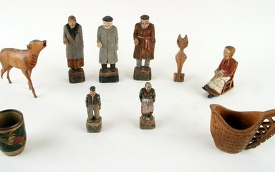 TEN ASSORTED CARVED WOOD FIGURES AND OBJECTS