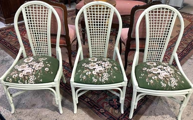 THREE PAINTED CANE SIDE CHAIRS