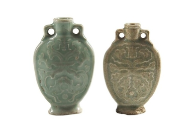 TWO CHINESE CELADON PORCELAIN SNUFF BOTTLES QING DYNASTY (1644-1912), 19TH CENTURY The De Voogd Collection