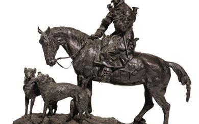 THE RETURN FROM THE HUNT: A BRONZE FIGURAL GROUP, CAST BY WOERFFEL, ST PETERSBURG, AFTER THE MODEL BY VASILY GRACHEV (1831-1905), 1877