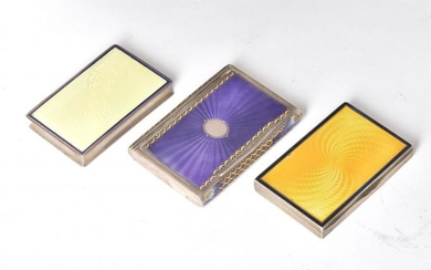 Three Austrian or German silver and guilloche enamel rectangular boxes