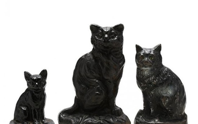 Three Vintage Cast Iron Cat Doorstops
