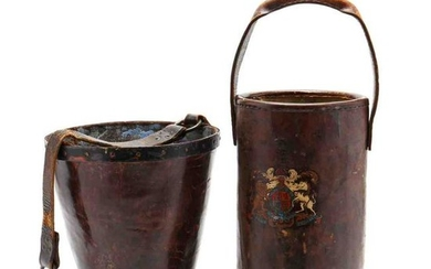 Two Antique English Leather Fire Buckets
