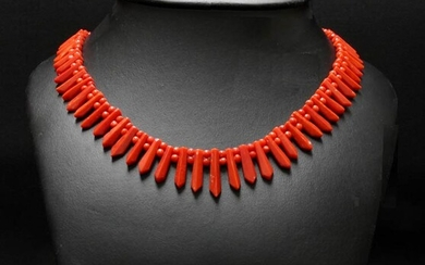 Two bead strand and fringe Mediterranean coral (Corallium Rubrum) necklace....