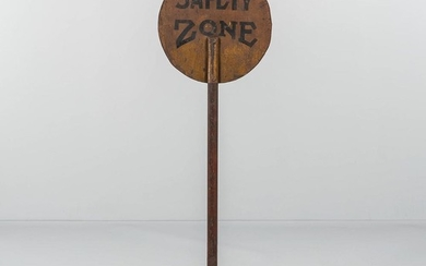 "Two-sided Painted Metal ""Safety Zone"" Sign"