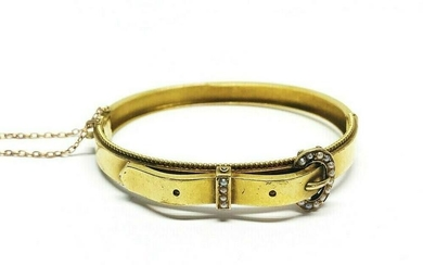 Victorian Yellow Gold Seed Pearl Buckle Bangle Bracelet