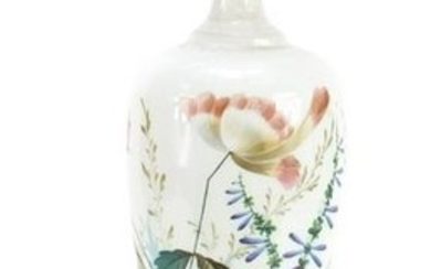 Victorian white opaline glass vase hand painted with