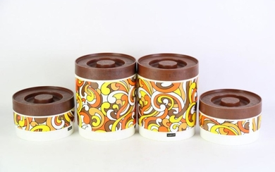Vintage Lidded Kitchen Canisters (4), Willow Australia