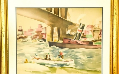 Vintage Watercolor Fishing Scene NYC River Front