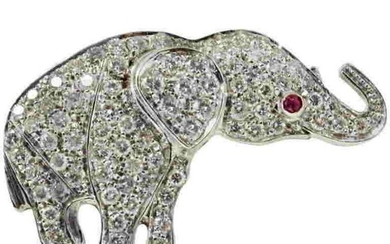 White Gold Diamonds and Ruby Brooch/Pendant