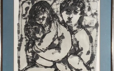 "Yanni Posnakoff ""Blue Family"" Lithograph"