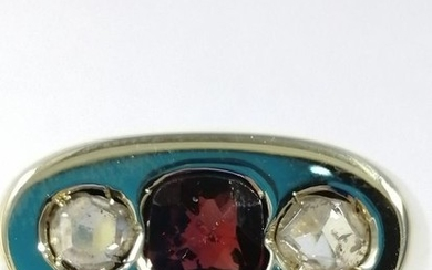 14 kt. Gold - Ring - 0.70 ct Ruby - Diamonds