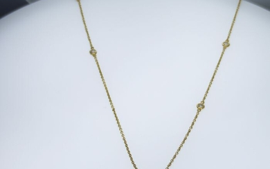 14 kt. Yellow gold - Necklace - Diamonds