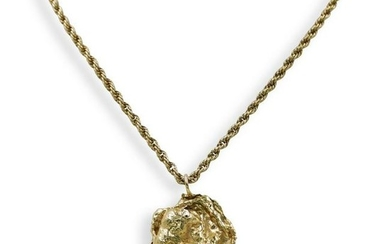 14K Gold Nugget Pendant Necklace