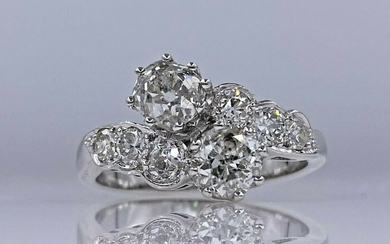 18 kt. White gold Artdeco ring with 2.12ct diamonds and ALGT certificate - Without reserve price!