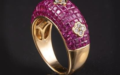 18 kt. Yellow Gold, Ruby and Diamond Ring