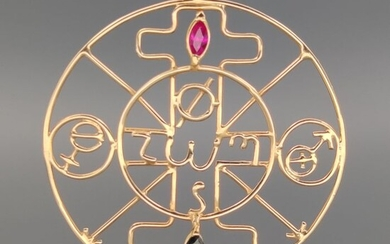 18 kt. Yellow gold - Pendant - 0.35 ct Ruby - Sapphire