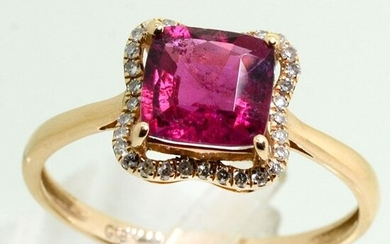 18 kt. Yellow gold - Ring Rubylite - Diamonds
