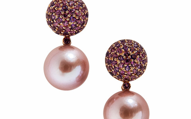 18kt Rose Gold and Pink Pearl Earrings