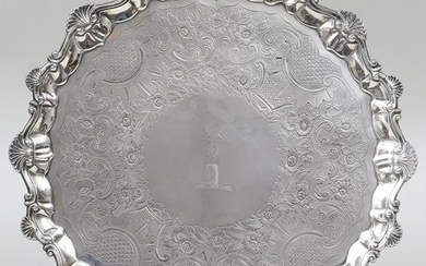 18th century English sterling silver salver