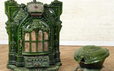 19TH C. FRENCH IRON FIRE PLACE INSERT & SCUTTLE