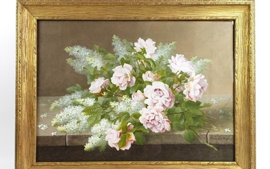 19th C. Watercolor of Still Life Flowers Signed