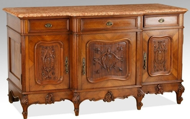 19th c. French Provincial marble top walnut buffet