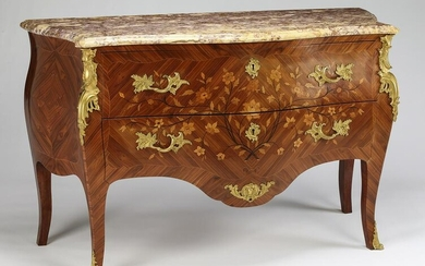 19th c. French marquetry inlaid marble top commode