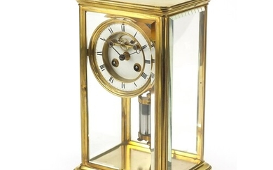 19th century French brass case four glass mantle clock with ...