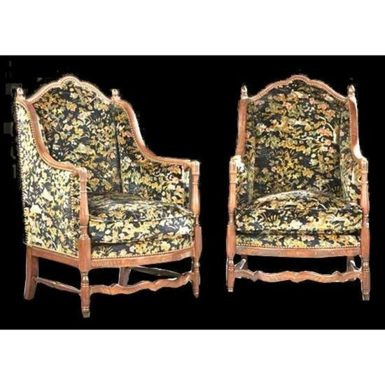 19thc Pair of Upholstered Walnut Diminutive Wing Chairs