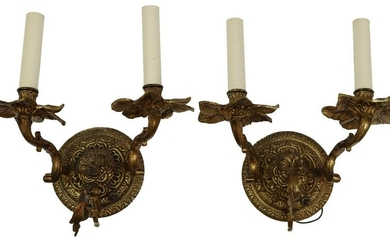(2) GILT METAL TWO-LIGHT WALL SCONCES