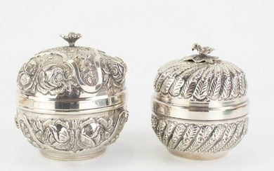 2 Indo Persian 900 Fine Silver Repousse Boxes 500g