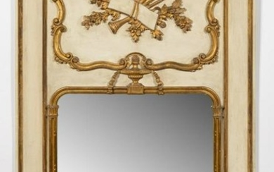 20TH C. FRENCH CARVED PARTIAL-GILT TRUMEAU MIRROR
