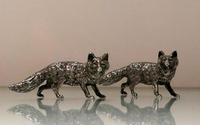 20th Century Modern Sterling Silver Pair Foxes London