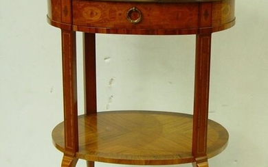 283- Oval veneered table inlaid with flowers It opens to a drawer Transition style Louis XV - Louis XVI 75 x 55 x 42 cm