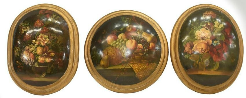 (3) FRUIT & FLORAL STILL LIFE PAINTED WALL PLAQUES