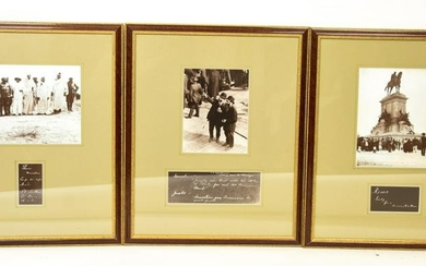 3 Framed Antique Photographs Immigrants / Travel