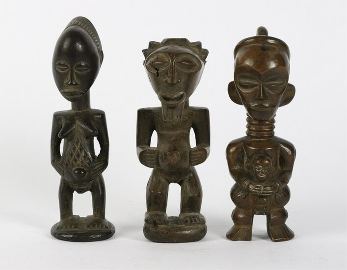 (3) PROBABLY FANG WEST AFRICAN CARVINGS OF WOMEN