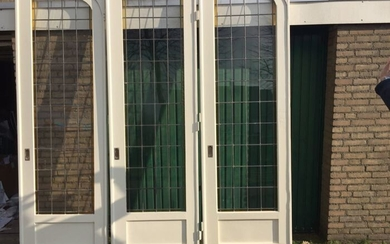 3 large Room-en-Suite doors, 260 cm. high (3) - Glass (stained glass), and wood - Around 1920