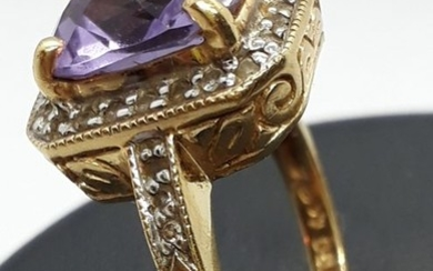 18 kt. Gold, Yellow gold - Ring Amethyst