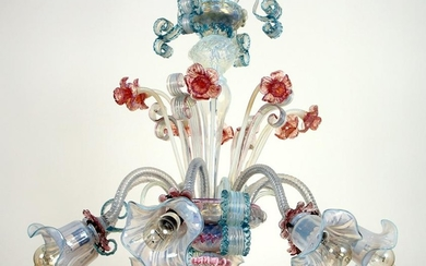 MURANO 8-ARM CRYSTAL CHANDELIER ALTERNATING ARMS