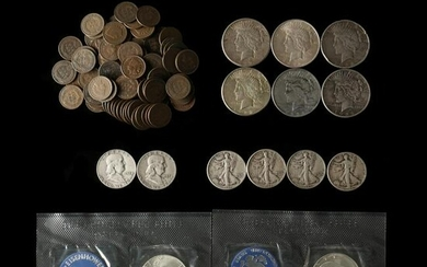 97 Indian Cents and Mixed Silver Coins