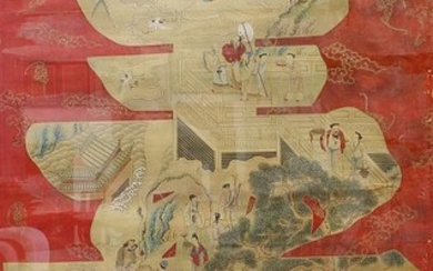 A 19th century Chinese painting on silk depicting figures...