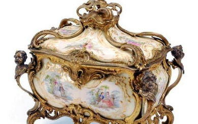A Berlin Kpm German Rococo Style Gilt Bronze Mounted