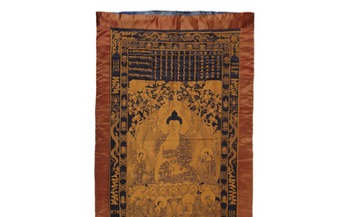 A Blue-ground gilt embroidered Buddhist hanging